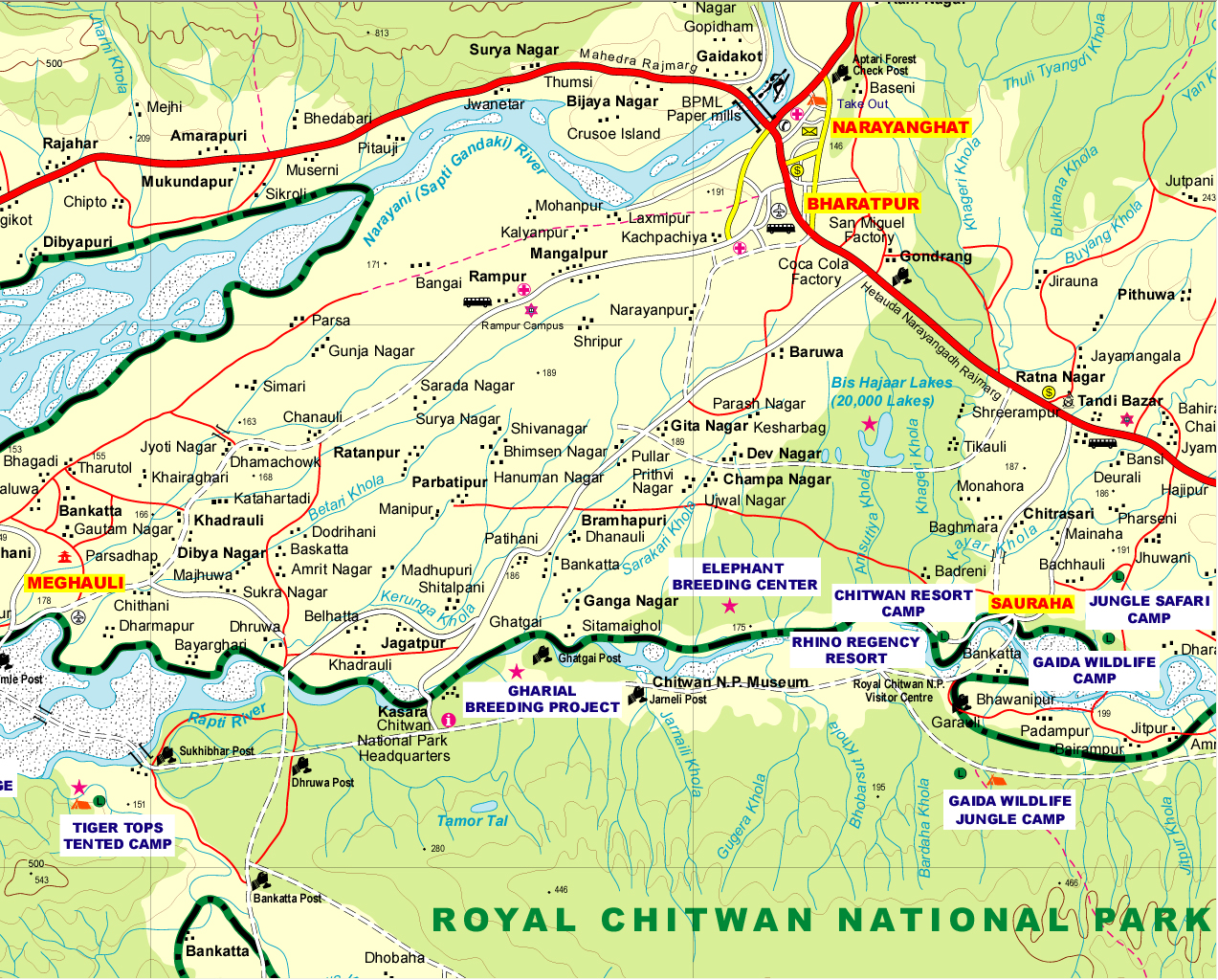 Bird Watching in nepal Chitwan Map