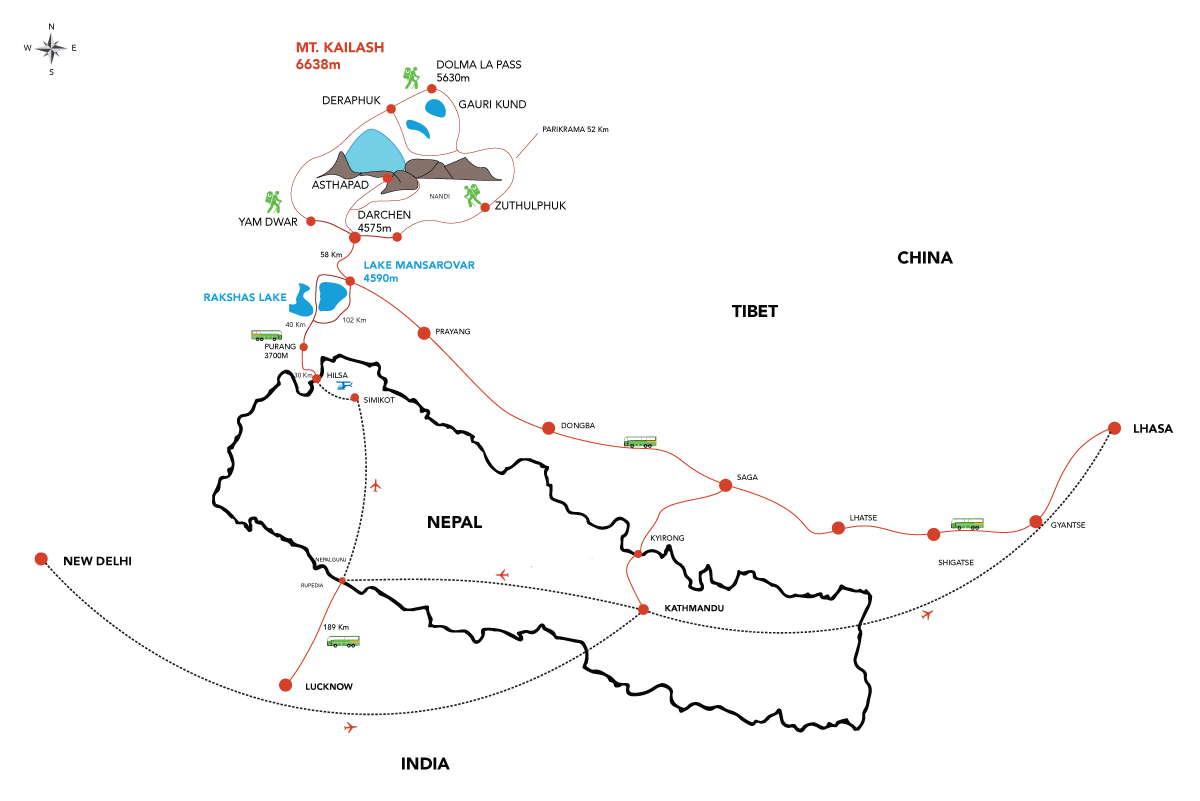 Lhasa Kailash Tour Map