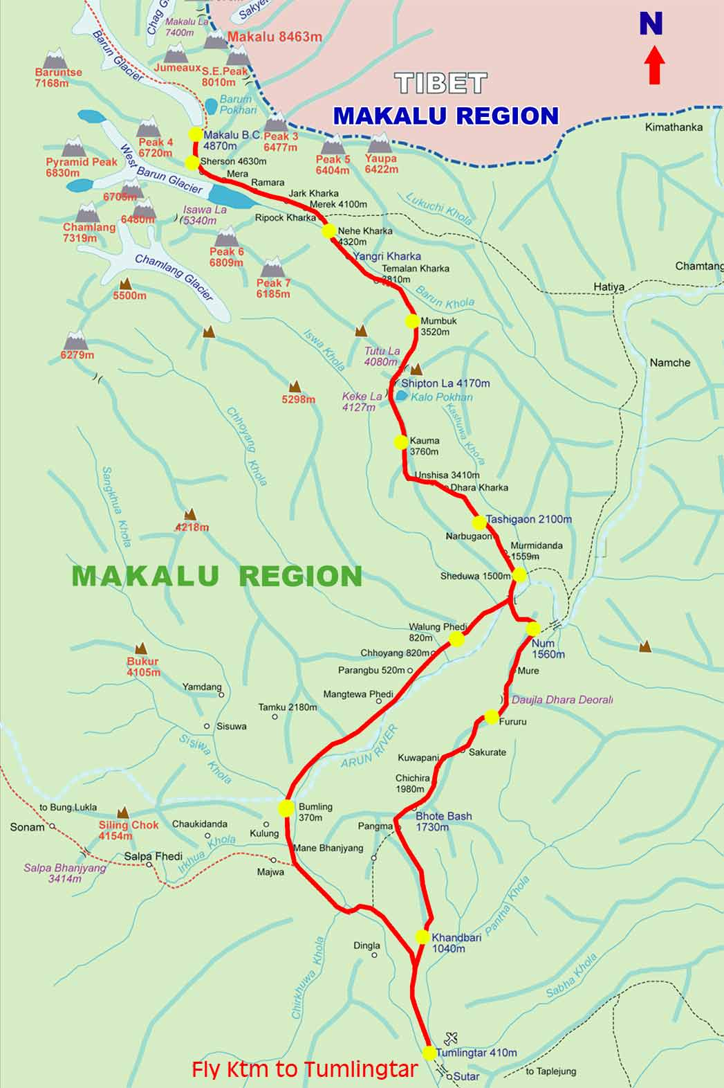 MT. MAKALU EXPEDITION (8463M) Map