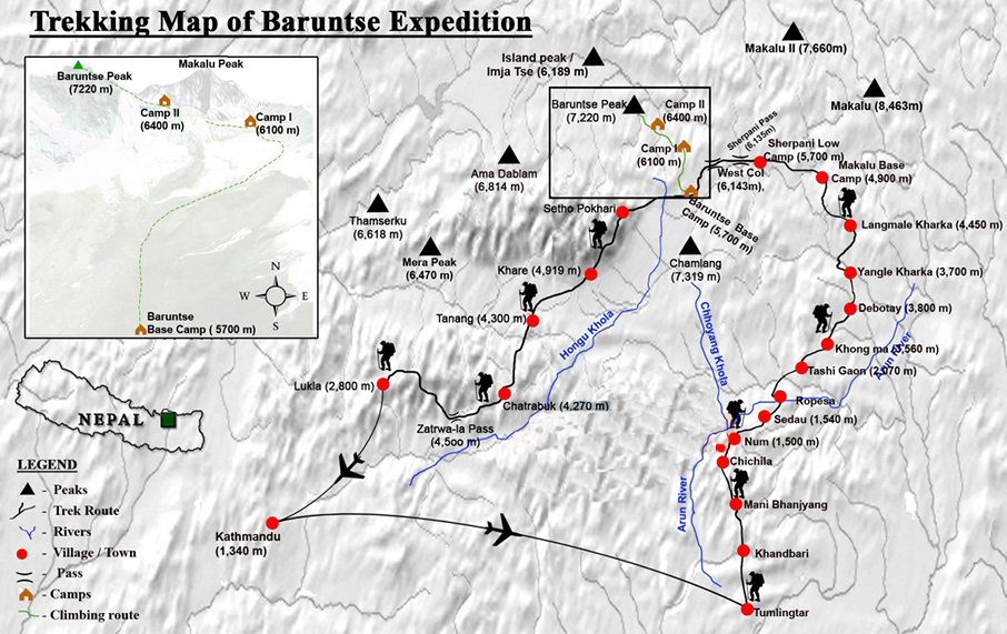 BARUNTSE EXPEDITION (7129 M) Map