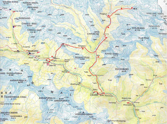 HIMLUNG HIMAL EXPEDITION ( 7126 M ) Map