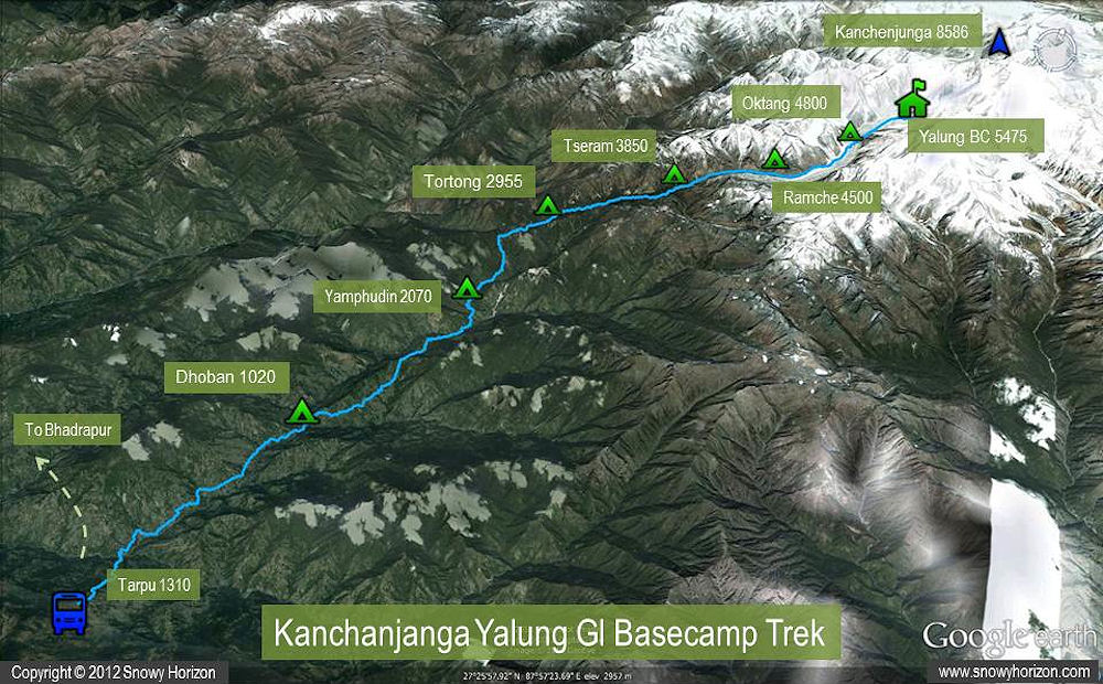 MT. KANGCHENJUNGA EXPEDITION (8586 M) Map