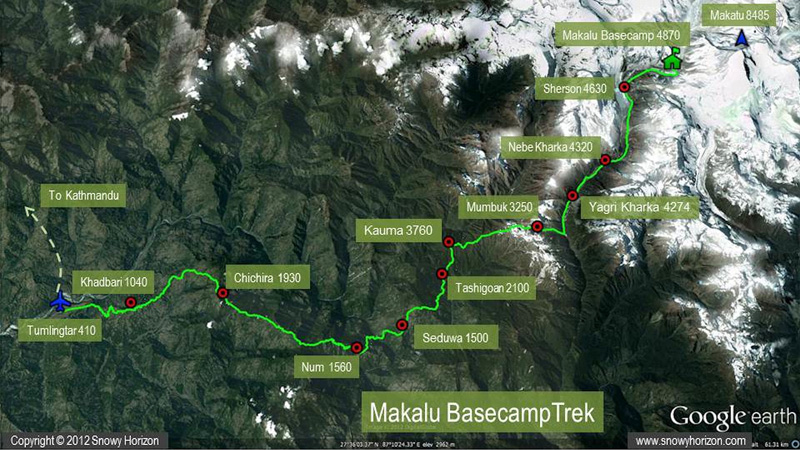 Makalu Base Camp Trek Map