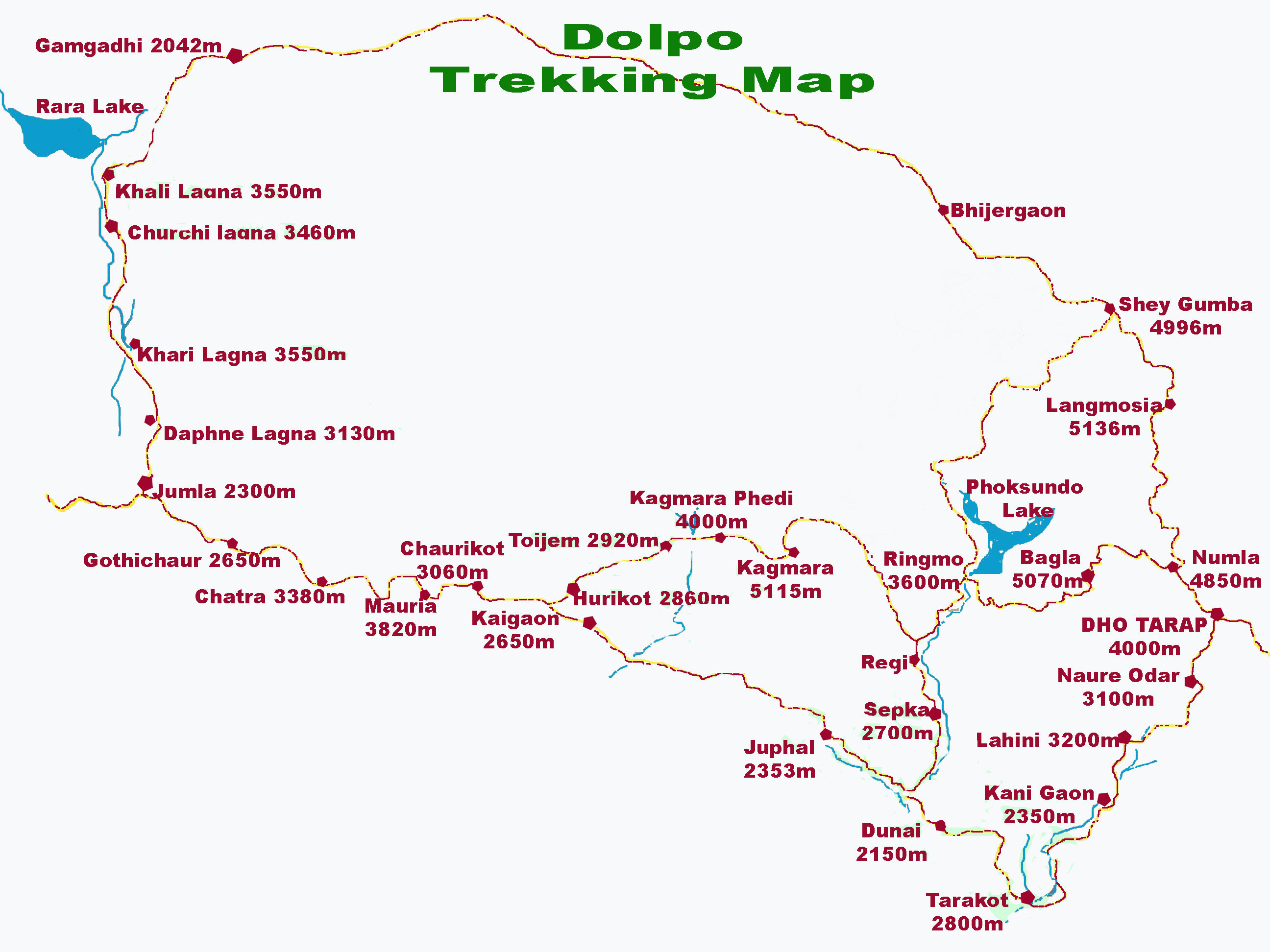 Upper Dolpo Trek 28 Days Map